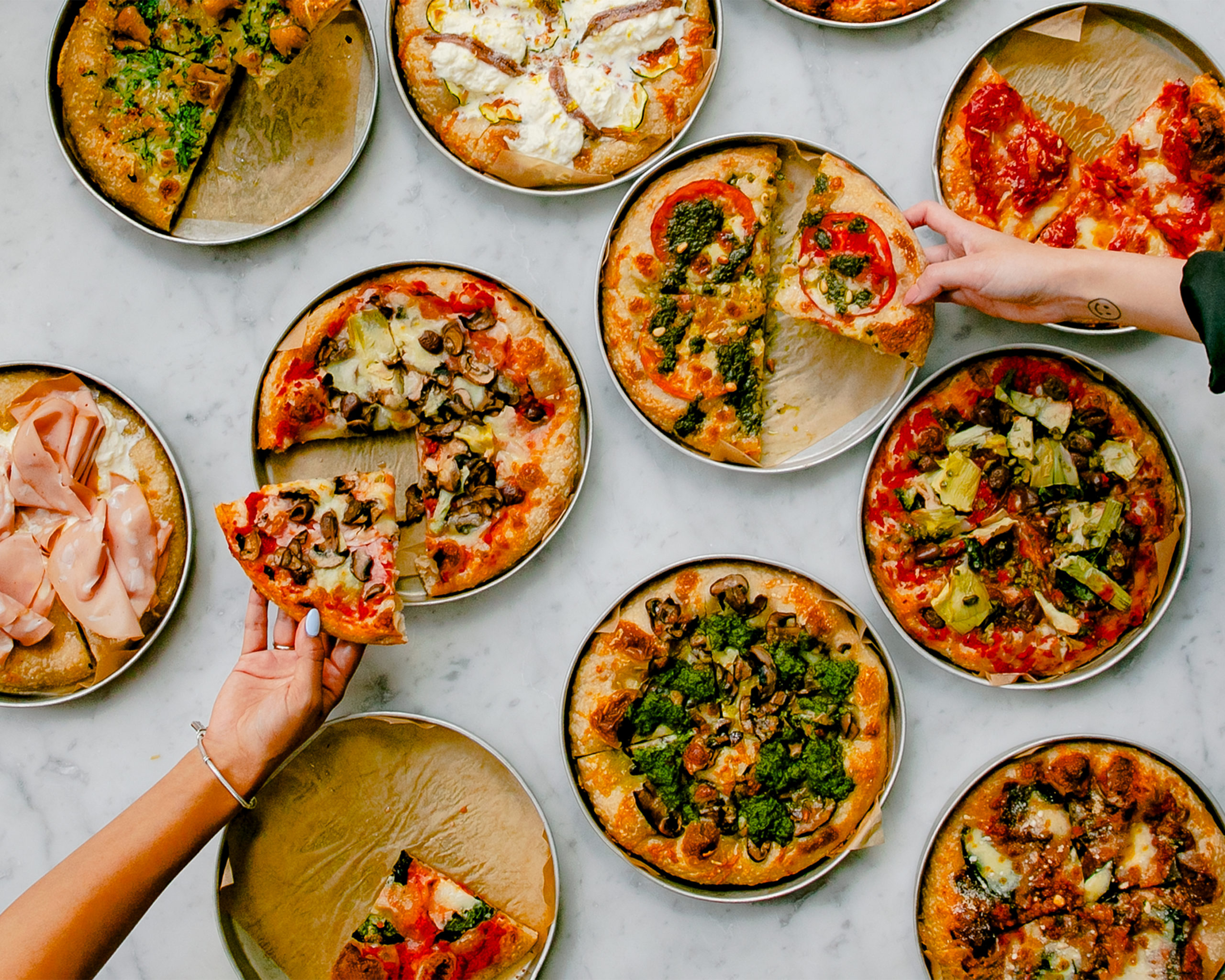 spread of torino-style pizza