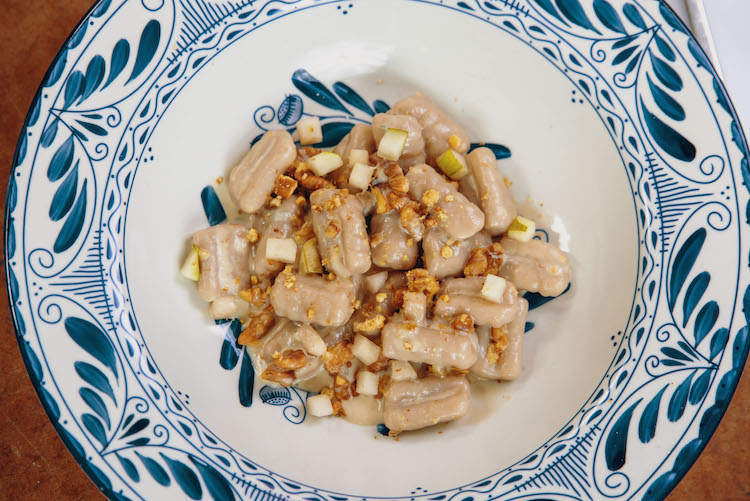 gnocchi with gorgonzola and pear
