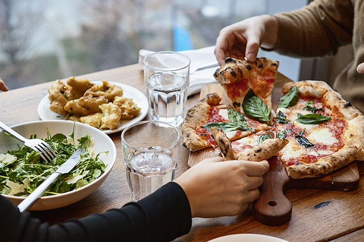 pizza and salad lunch