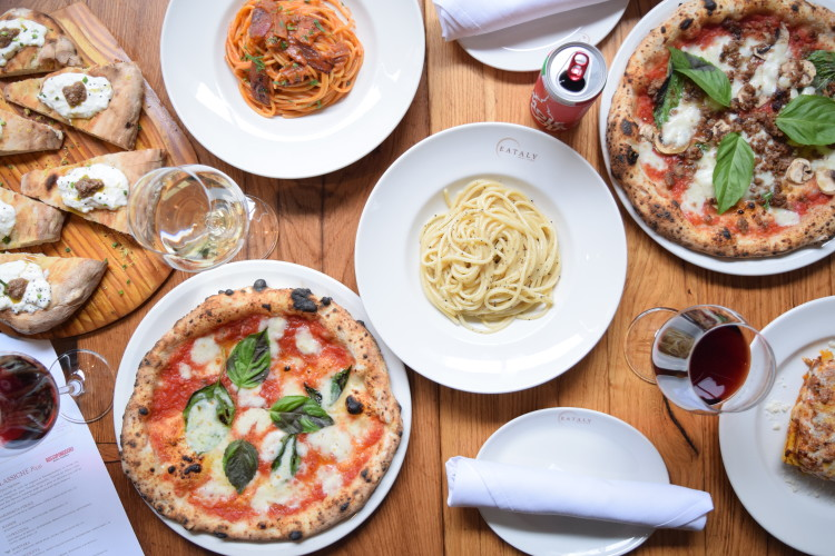 pizza and pasta at Eataly