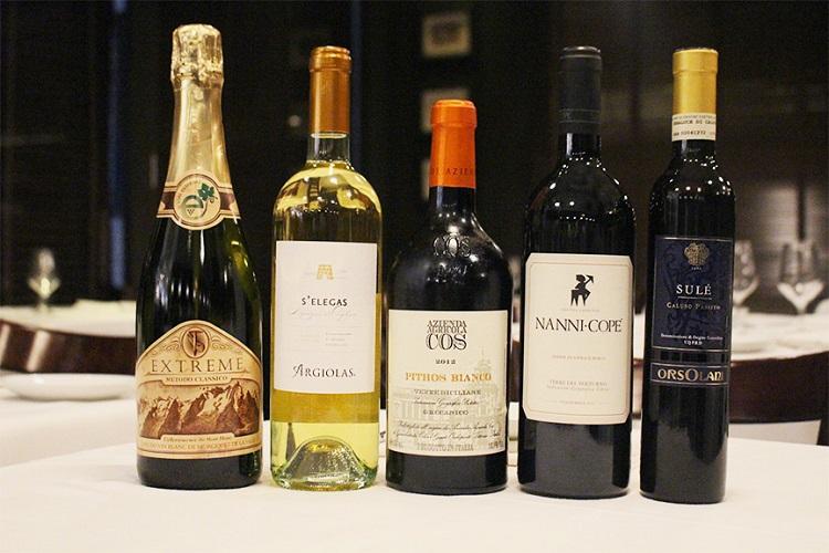 line-up of wine bottles
