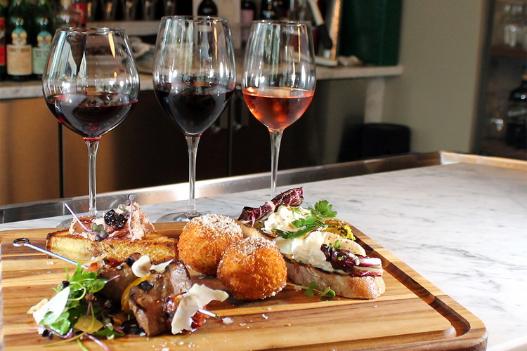 wine and italian snacks