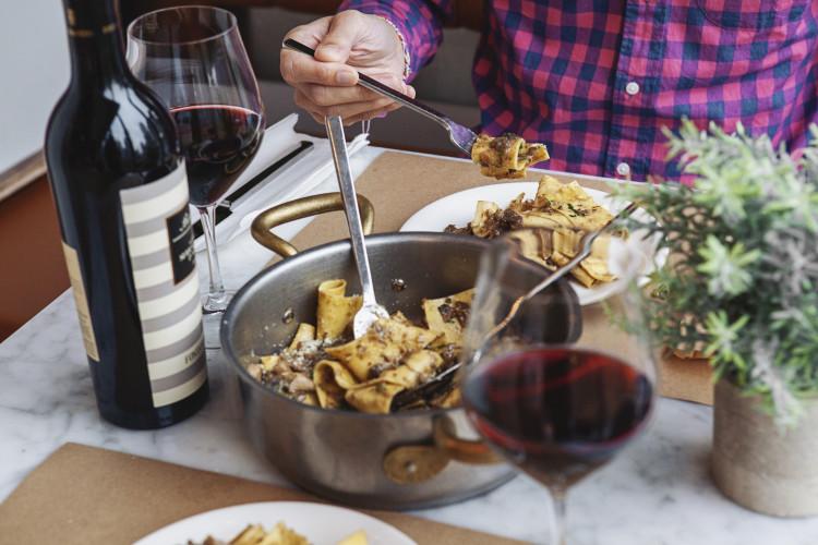 white truffle pasta and barolo