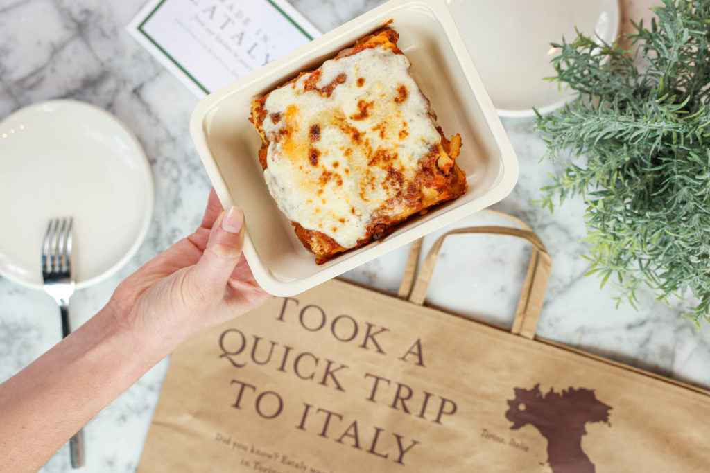 Tray of Eataly's housemade lasagne