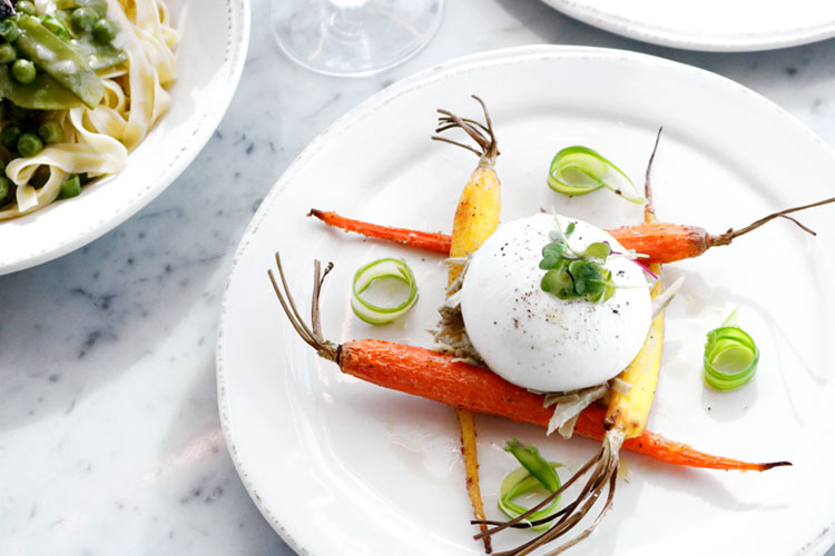 Burrata with roasted carrots