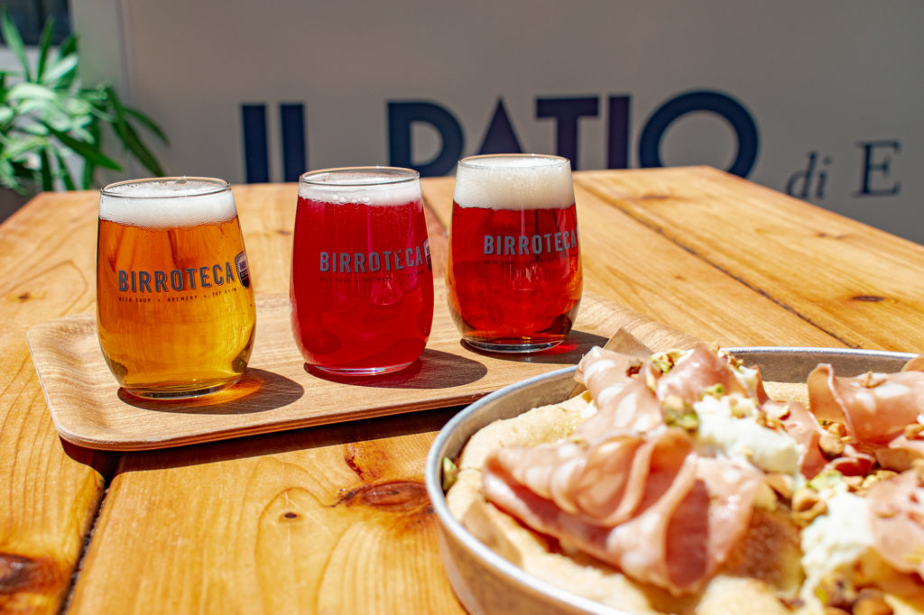 Flight of Birroteca by Indie Alehouse beer paired with pizza al padellino
