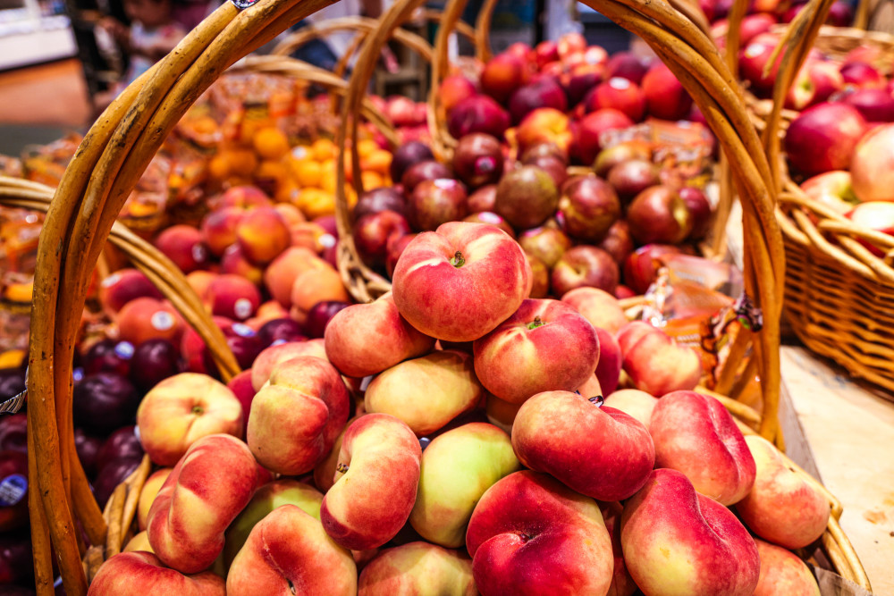 Donut peaches in a basket