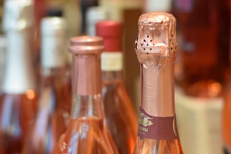 Bottles of rosato wine