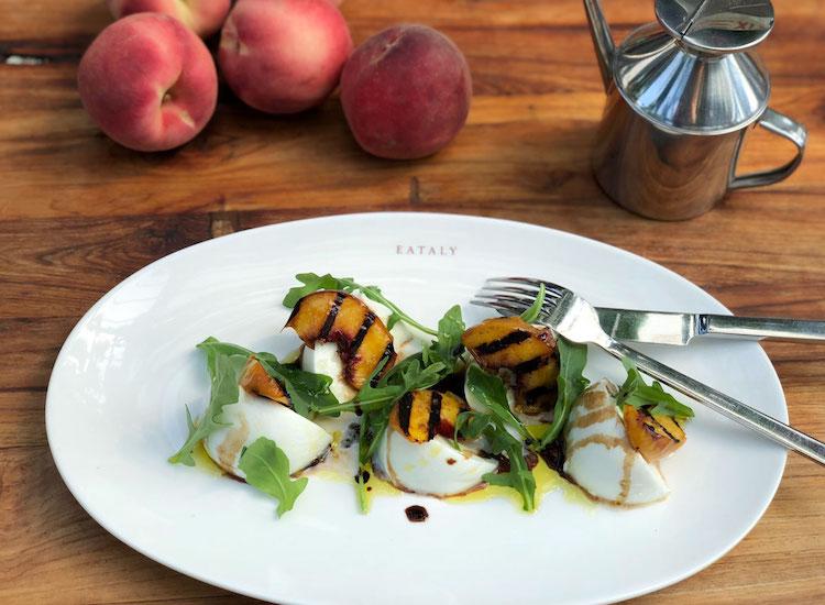 Grilled peach salad with mozzarella and arugula