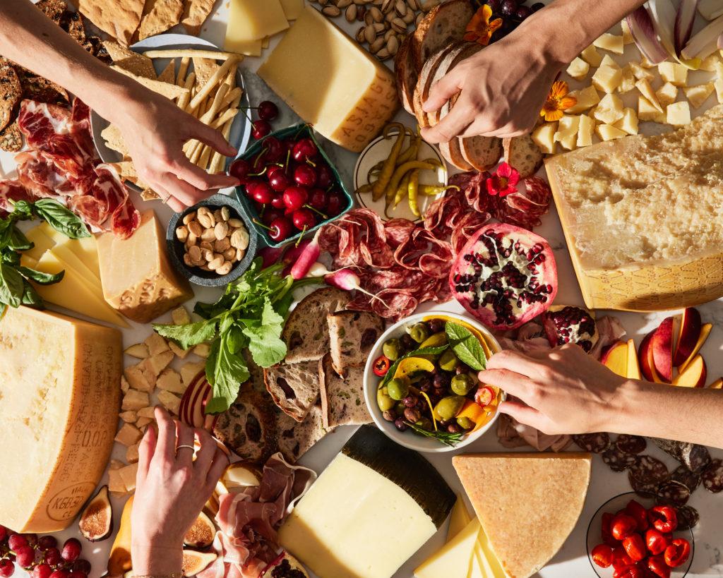 Spread of 5 European DOP cheeses