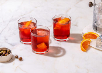 Three Negroni on a table