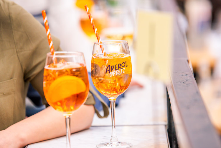 Aperol Spritz cocktails at Eataly