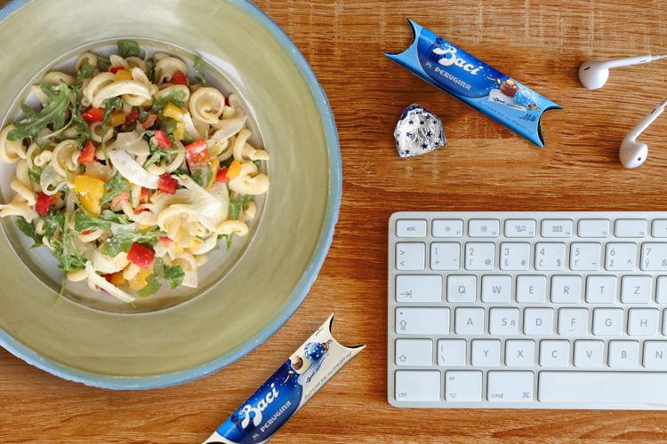 Italian pasta salad at a desk